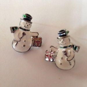 Jewelry - Snowman Earrings Christmas Gift Vintage Frosty